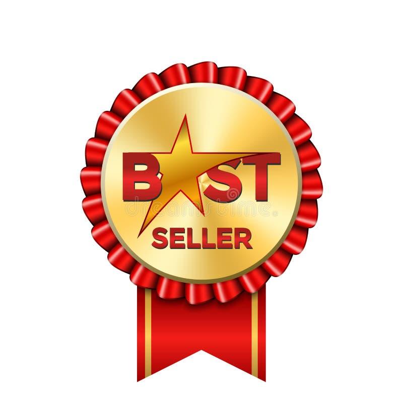 Verkaufsschlagerpreisbandikone Goldroter Ausweis lokalisierter weißer Hintergrund Goldener Bestselleraufkleber Abstrakte Dekorati vektor abbildung