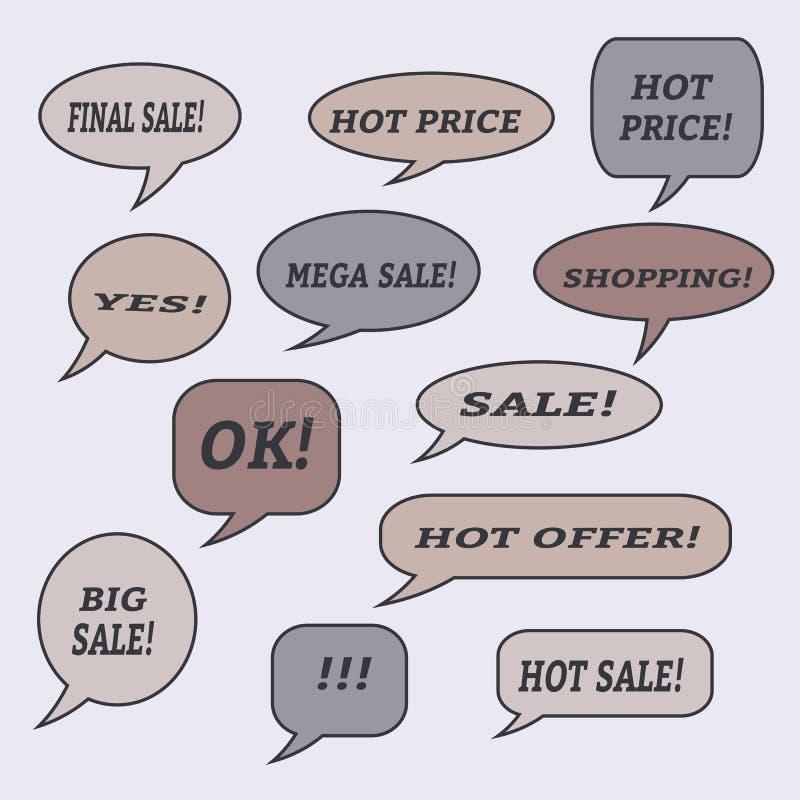 Verkaufsspracheblasen Satz Illustrationsikonen vektor abbildung