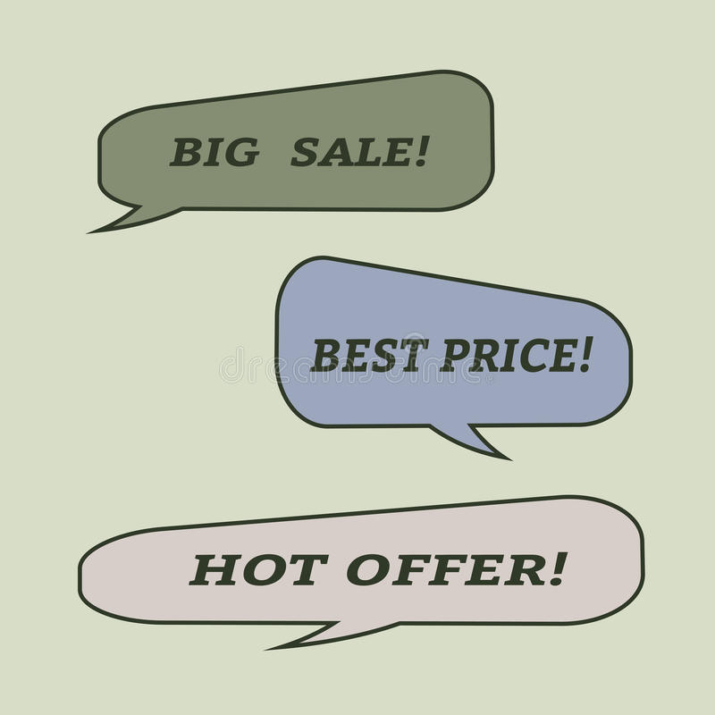 Verkaufsspracheblasen Satz Illustrationsikonen stock abbildung