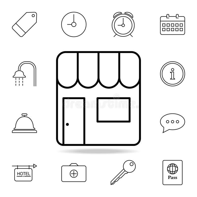 Verkaufsstallikone Element der einfachen Ikone für Website, Webdesign, bewegliche APP, Informationsgraphiken Dünne Linie Ikone fü lizenzfreie abbildung
