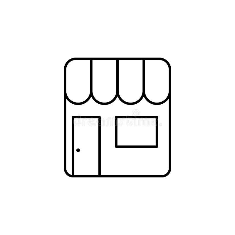 Verkaufsstallikone Element der einfachen Ikone für Website, Webdesign, bewegliche APP, Informationsgraphiken Dünne Linie Ikone fü stock abbildung