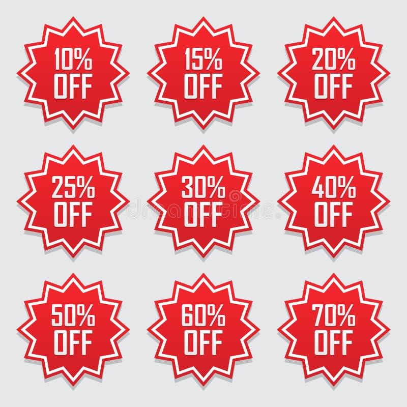 Verkaufstags begannen Vektorausweisschablone, 10, 15%, 20, 25, 30, 40, 50, 60, 70-Prozent-Verkaufsaufklebersymbole, die flache Ra stock abbildung