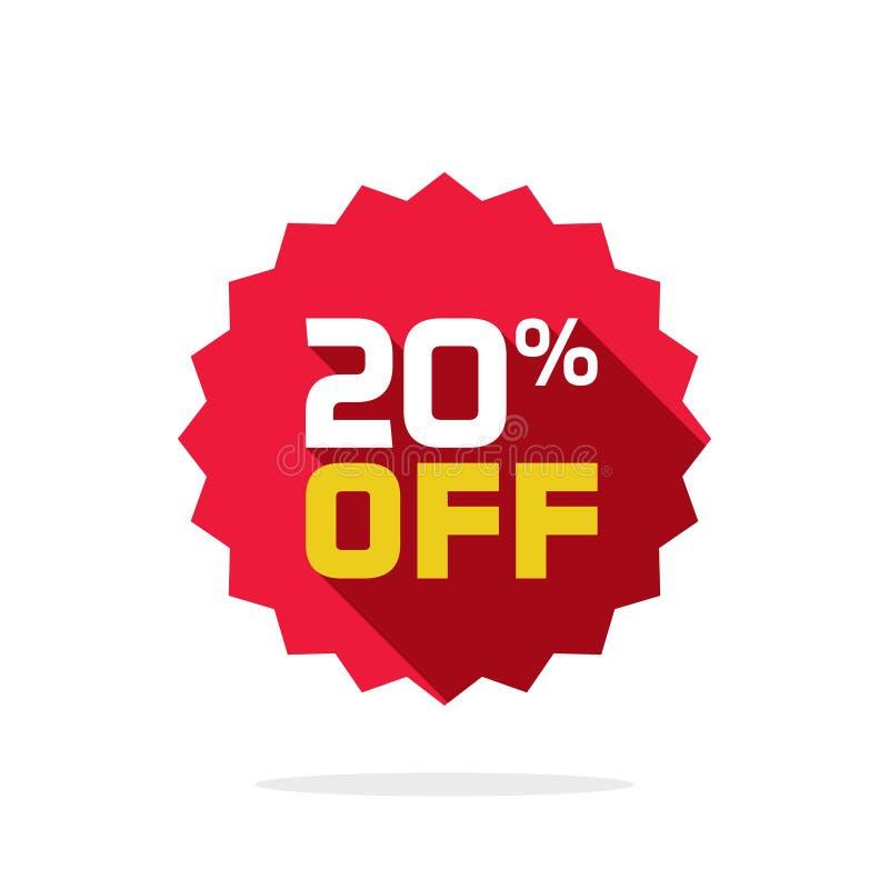 Verkaufstagvektor-Ausweisschablone, 20 weg vom Verkaufsaufklebersymbol, flache Ikone der 20-Prozent-Rabattförderung, Räumungsverk vektor abbildung