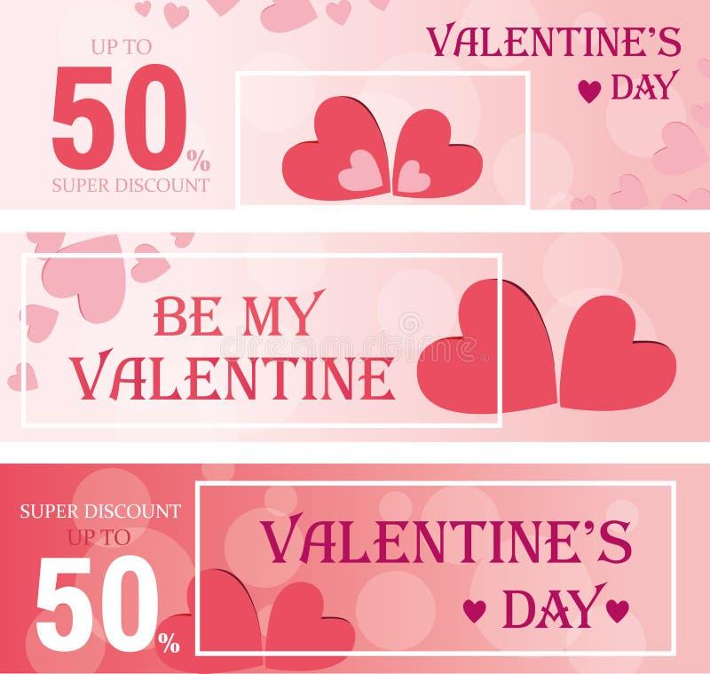 Verkaufstitel oder Fahnensatz mit Rabattangebot für glückliche Valentinsgruß ` s Tagesfeier Auch im corel abgehobenen Betrag stock abbildung