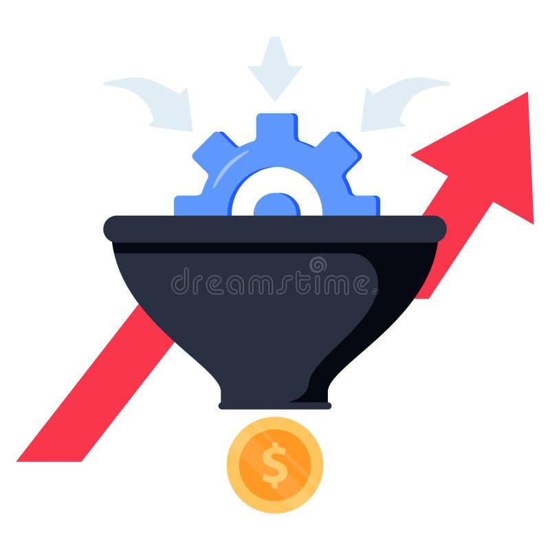 Verkaufstrichter-Konzeptillustration auf weißem Hintergrund Umrechnungssatzoptimierung Goldtext auf dunklem Hintergrund vektor abbildung
