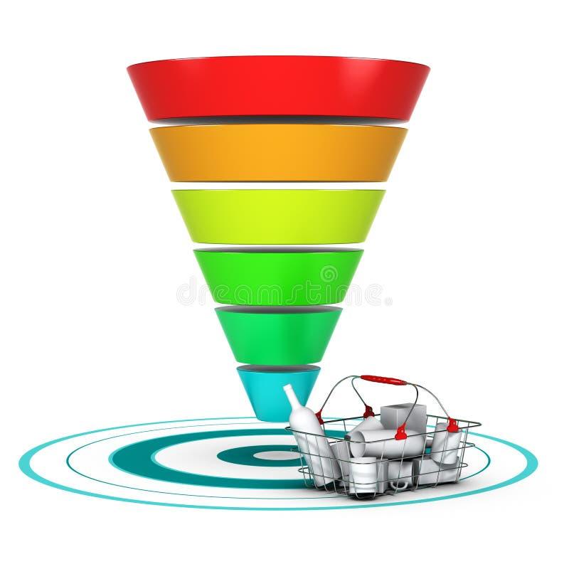 Verkaufstrichter. Marketing-oder Geschäfts-Diagramm lizenzfreie abbildung