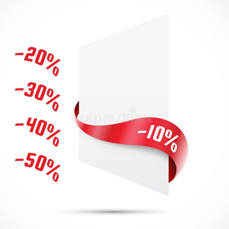 Verkaufsumbau. Verkauf dicount. Rote Bänder. Förderung stock abbildung