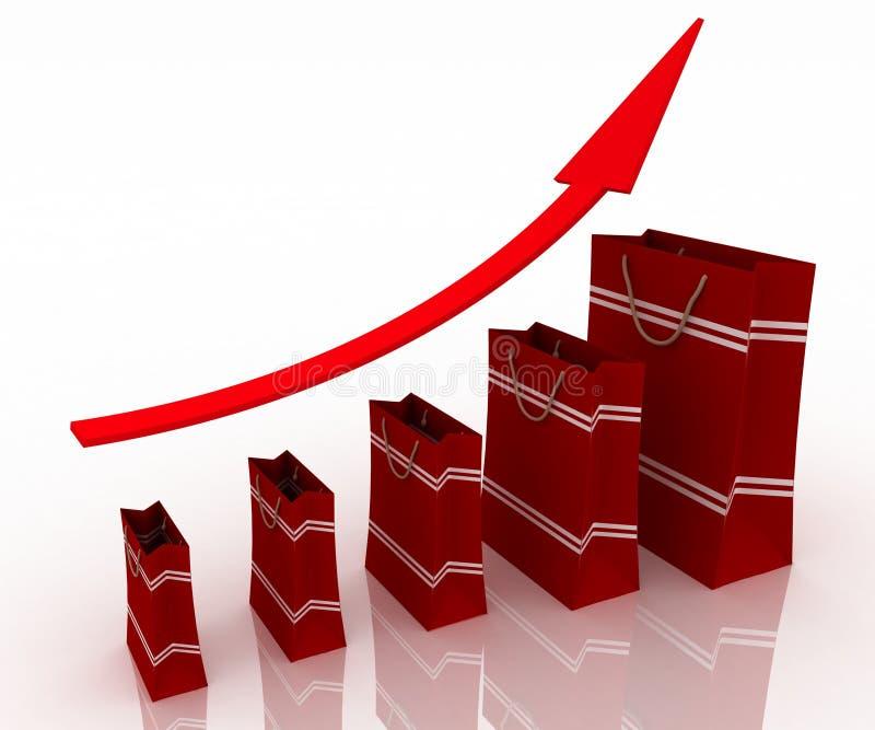 Verkaufswachstumdiagramm stock abbildung