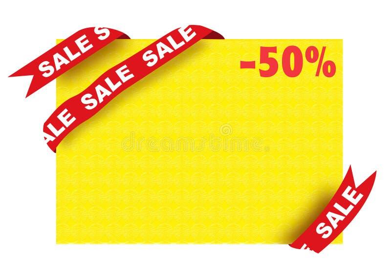 Verkaufszeichen und fünfzig-Prozent-Rabattplakat lizenzfreie abbildung