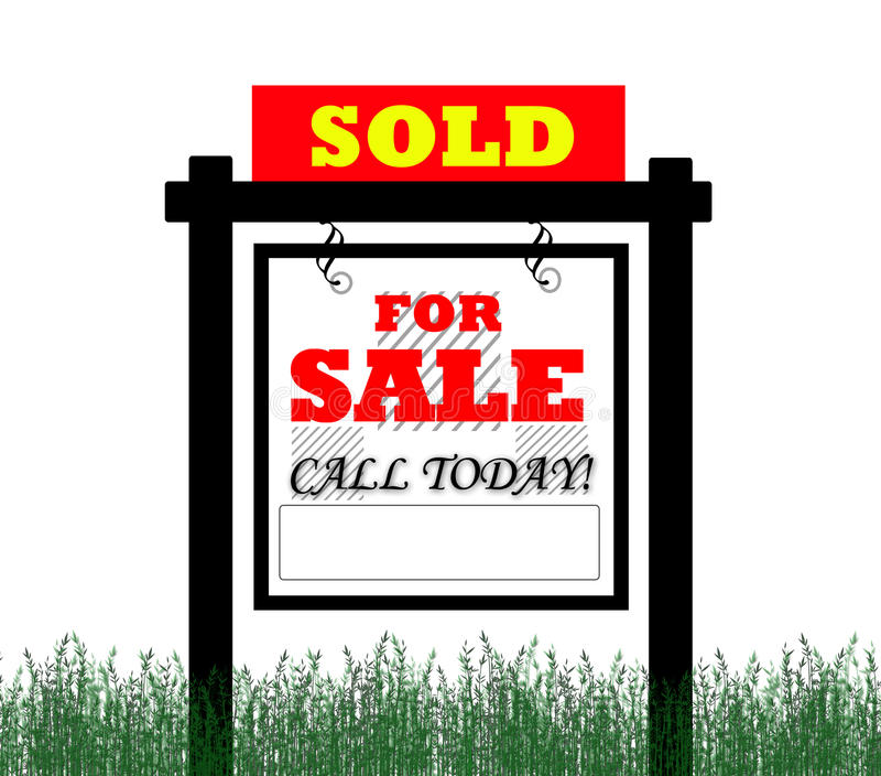 Verkauft für Grundbesitzzeichen des Verkaufs vektor abbildung