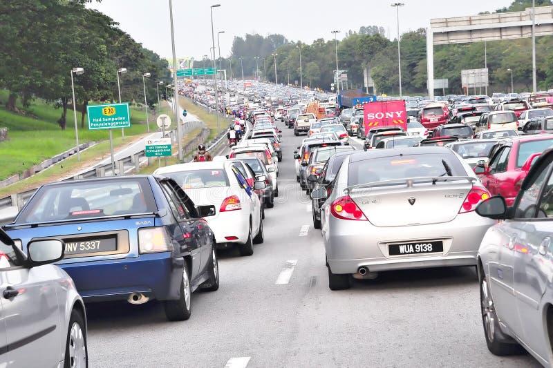 Verkeer dat in Maleisië wordt geblokkeerd stock foto
