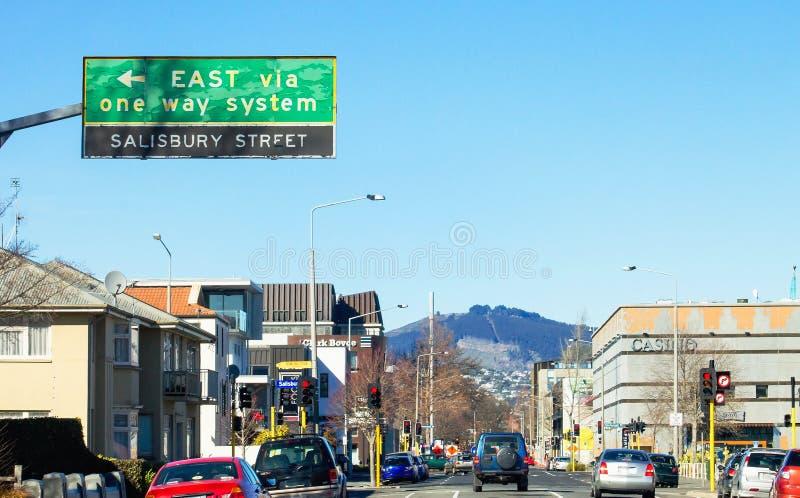 Verkeer die zich langs het de Straatnoorden van Durham bewegen, Christchurch, Nieuw Zeeland royalty-vrije stock foto