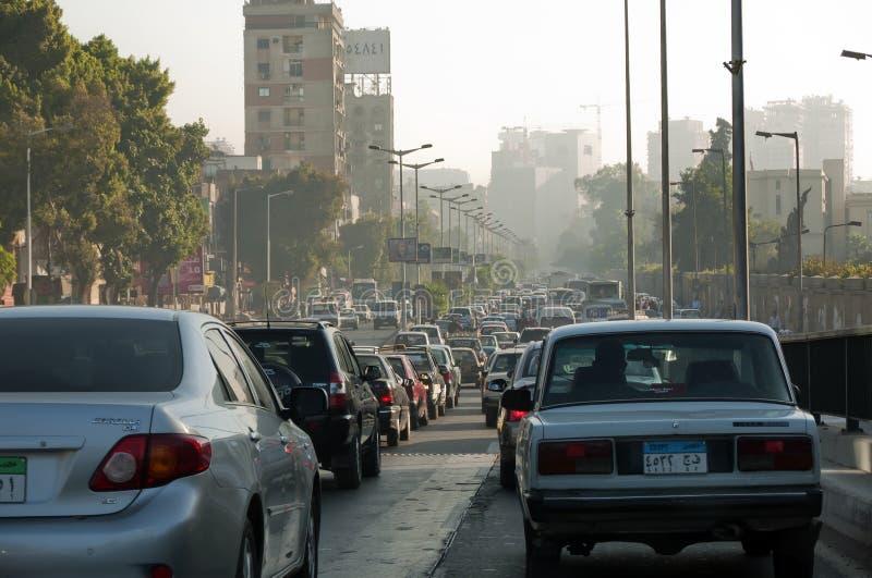 Verkeer en vervoer in Kaïro, Egypte stock afbeeldingen