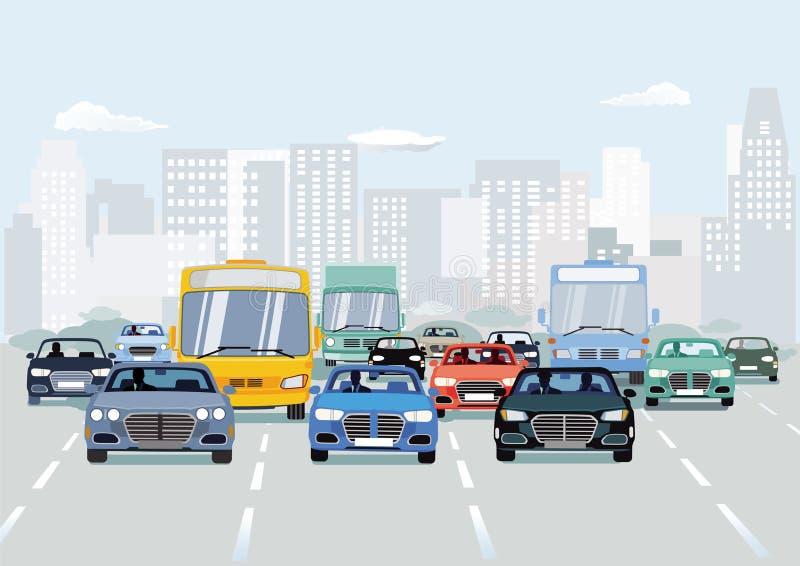 Verkeer met auto's op stedelijke straat royalty-vrije illustratie