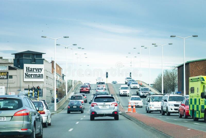 Verkeer op Moorhouse-Weg, Christchurch, Nieuw Zeeland stock foto