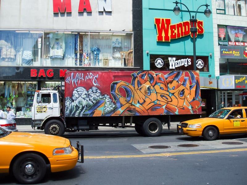 Verkeer op Times Square royalty-vrije stock afbeeldingen