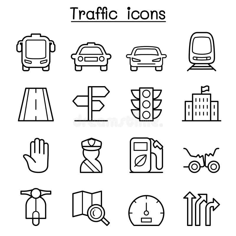 Verkeer & Vervoerspictogram dat in dunne lijnstijl wordt geplaatst royalty-vrije illustratie