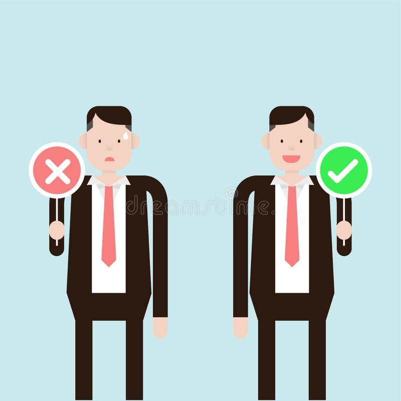 Verkeerd en juiste zakenmanholding royalty-vrije stock afbeelding
