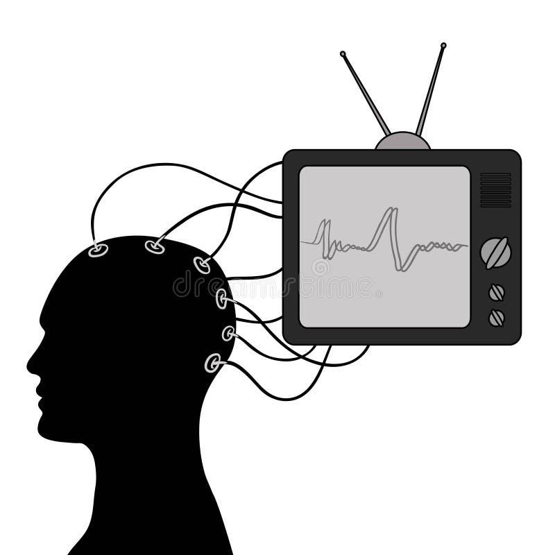 Verkeerde informatie door televisie royalty-vrije illustratie