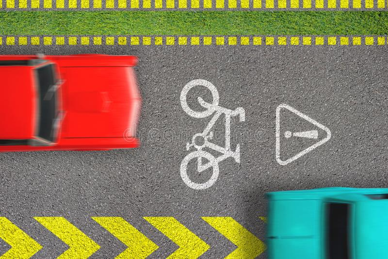 Verkeerinbreuk Het drijven door fietssteeg Concept het biking van veiligheid Hoogste mening over weg met zich het teken van de fi stock afbeeldingen