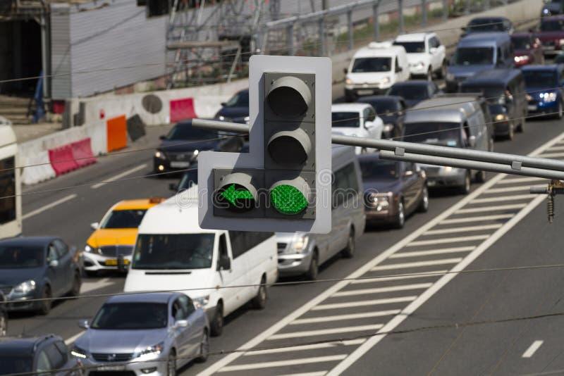 Verkeerscongestie op de achtergrond royalty-vrije stock foto