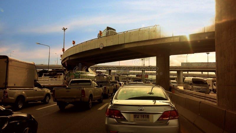 Verkeerscongestie tijdens spitsuur royalty-vrije stock foto