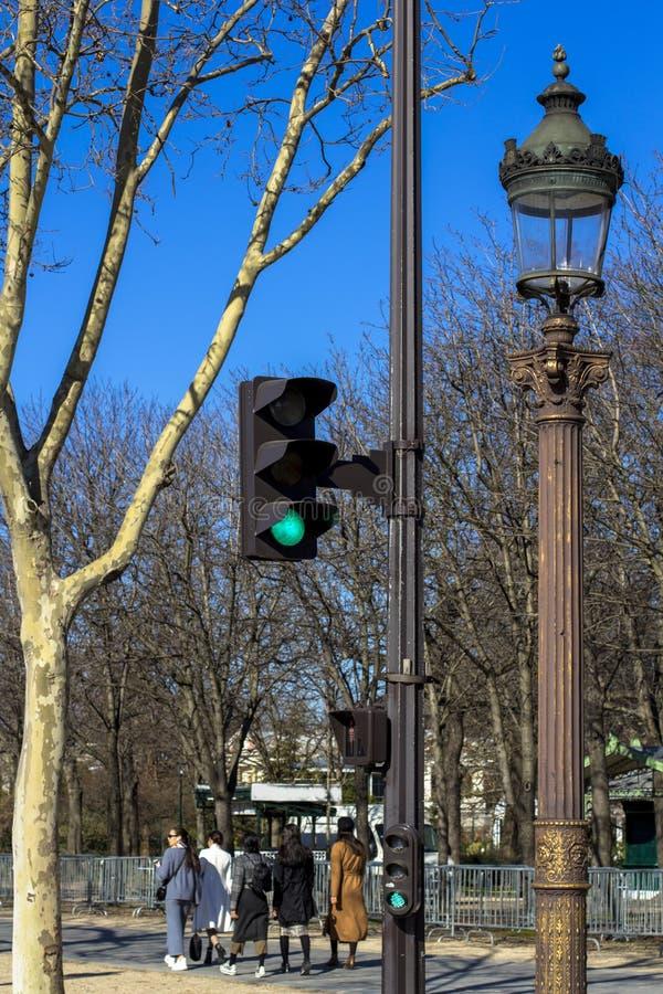 Verkeerslicht, lantaarn, boom tegen de blauwe hemel in de lente in Parijs, waar de mensen in goed weer lopen stock foto's