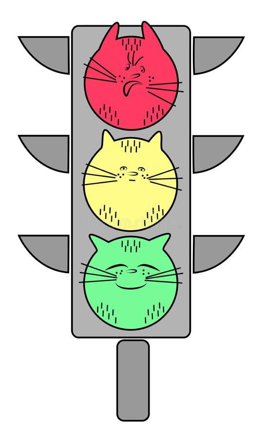 Verkeerslicht met een kat Het rood is een kwaad dier Geel - kalm huisdier Groen - een blije kat Symbolische allegorie Vector illu vector illustratie