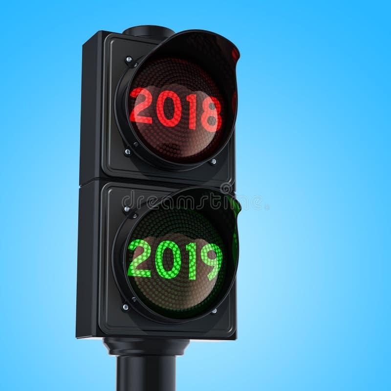 Verkeerslicht met groen licht 2019 op hemelachtergrond Gelukkig Nieuwjaar 2019 concept het 3D teruggeven op witte achtergrond geï vector illustratie