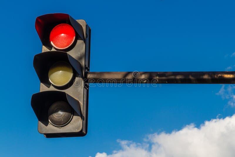 Verkeerslicht op rood stock foto's