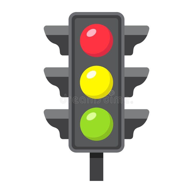Verkeerslicht vlak pictogram, rood licht en navigatie royalty-vrije illustratie