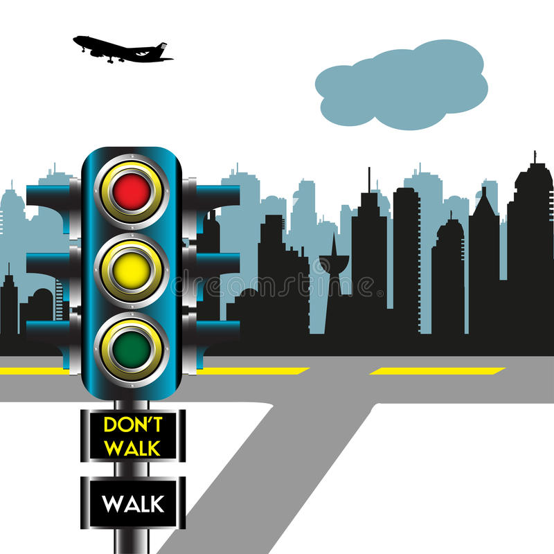 Verkeerslichten in de stad stock illustratie