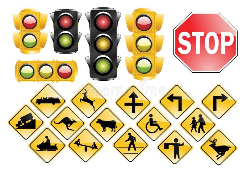 Verkeerslichten en tekens stock illustratie