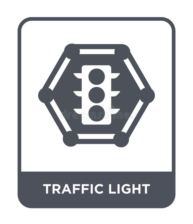 verkeerslichtpictogram in in ontwerpstijl Verkeerslichtpictogram op witte achtergrond wordt geïsoleerd die eenvoudig verkeerslich stock illustratie