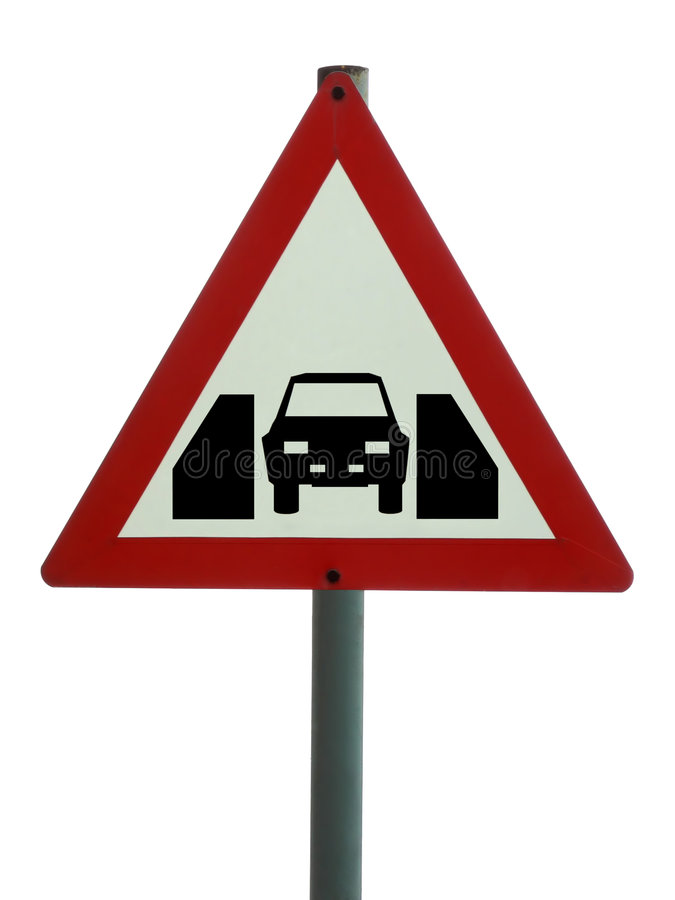 Verkeersteken - één voertuigbreedte royalty-vrije stock foto