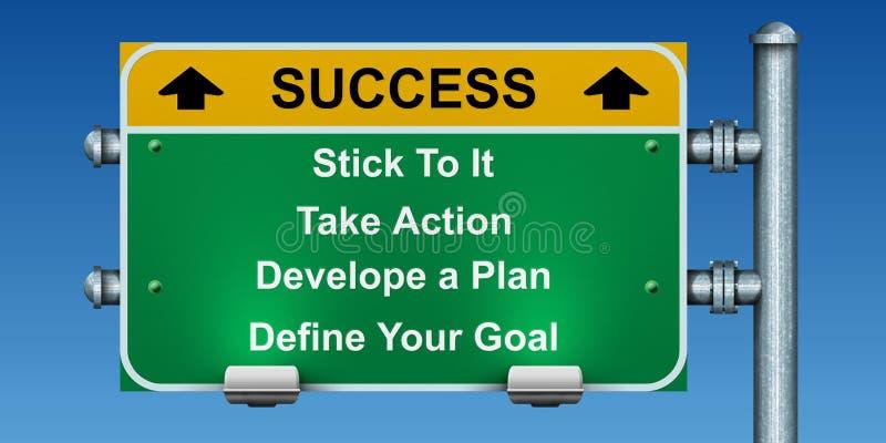 Verkeersteken aan succes stock afbeelding