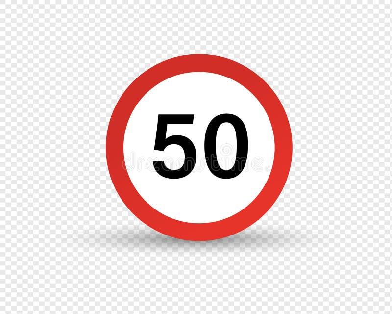 Verkeersteken, beperking van maximumsnelheid van beweging op weg stock illustratie