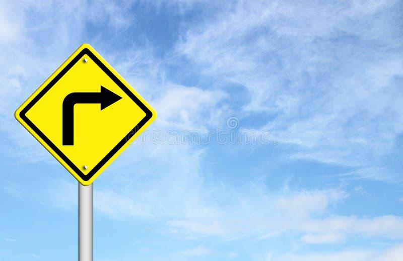Verkeersteken - de Juiste Waarschuwing van de Draai stock illustratie