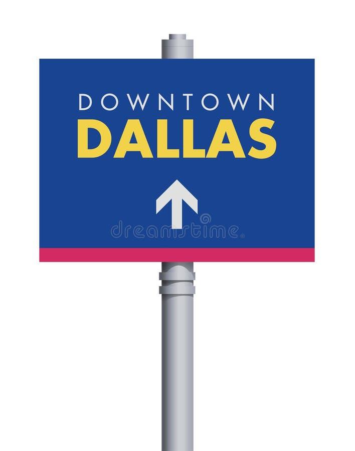 Verkeersteken de van de binnenstad van Dallas royalty-vrije illustratie