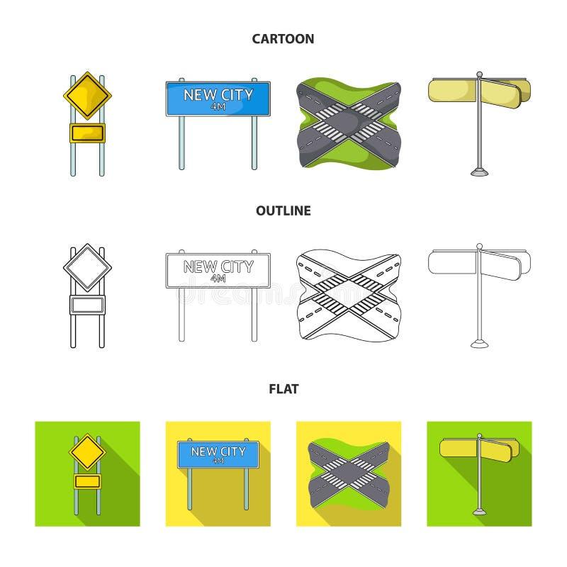 Verkeersteken en ander Webpictogram in beeldverhaal, overzicht, vlakke stijl De pictogrammen van wegverbindingen in vastgestelde  vector illustratie