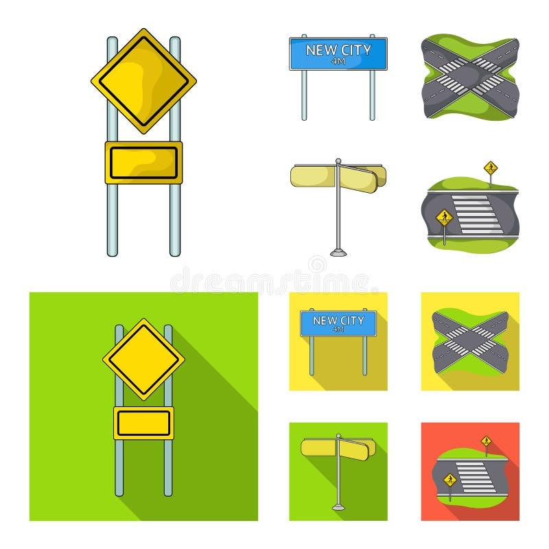 Verkeersteken en ander Webpictogram in beeldverhaal, vlakke stijl De pictogrammen van wegverbindingen in vastgestelde inzameling vector illustratie