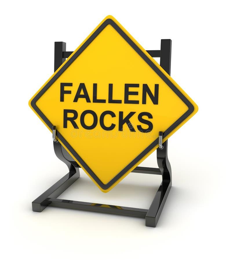 Verkeersteken - gevallen rotsen stock illustratie