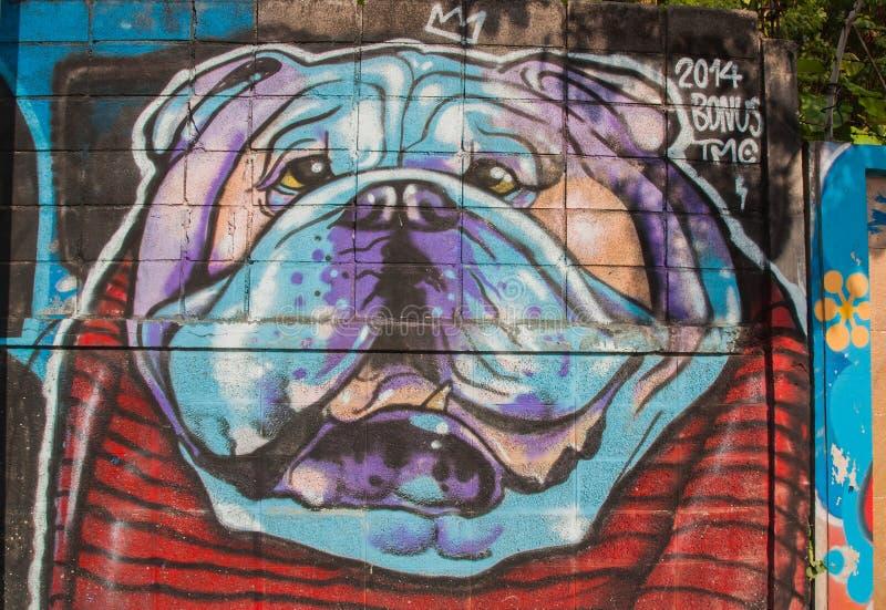 Verkeersteken in Hosier Lane Melbourne Hondschilderijen op de muur stock fotografie