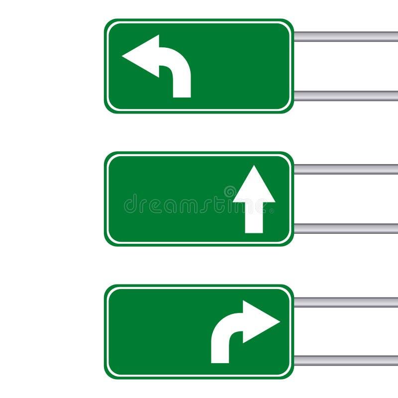 Verkeersteken met pijlgids op witte achtergrond royalty-vrije illustratie