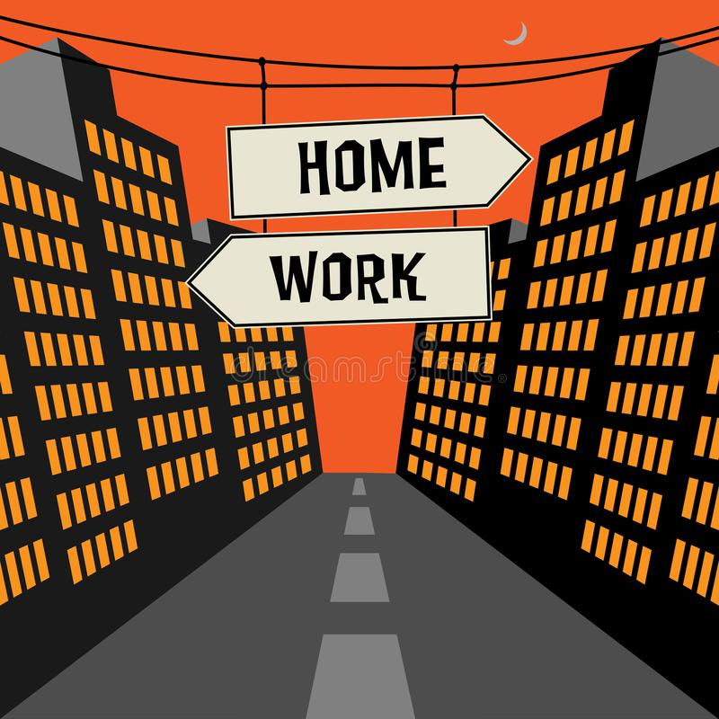 Verkeersteken met tegenovergesteld pijlen en teksthuis - het Werk royalty-vrije illustratie