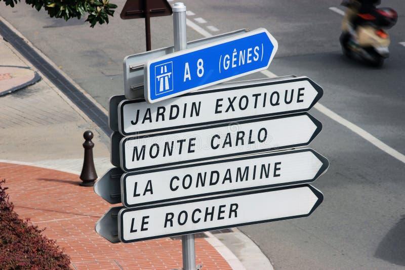 Verkeersteken in Monaco stock afbeeldingen