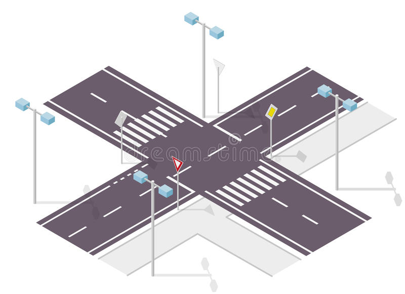 Verkeersteken op straat Straatverkeersteken Informatie grafische crossway stock illustratie