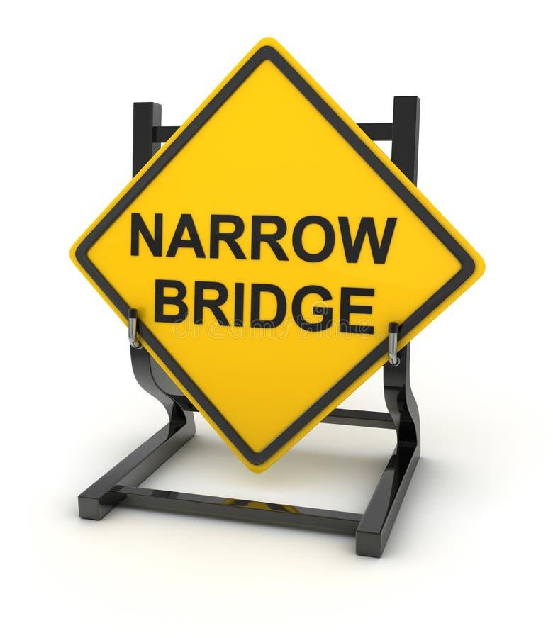 Verkeersteken - smalle brug stock illustratie