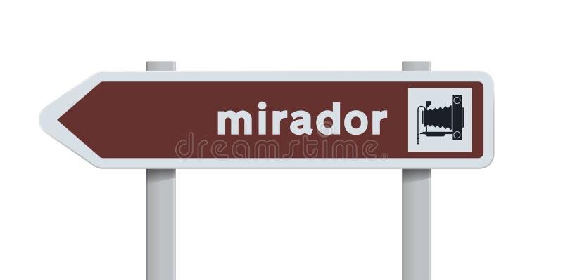 Verkeersteken van de Mirador de Spaanse richting royalty-vrije illustratie