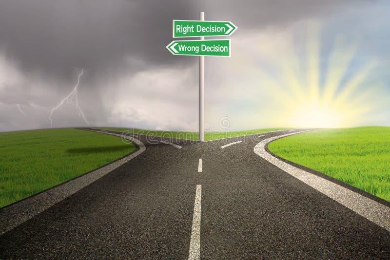 Verkeersteken van recht versus verkeerd besluit royalty-vrije illustratie